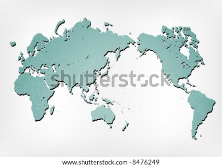 Stroked world map illustration with nation borders on a gradient background with a simple shadow.