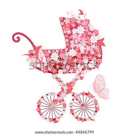 Stroller of flowers for girls