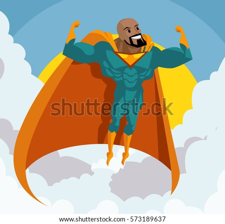 strong african superhero flying