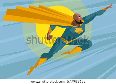 strong african superhero flying
