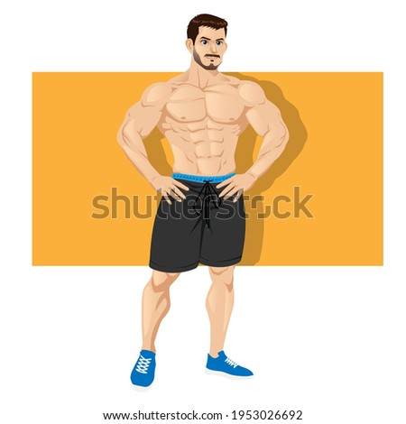 Strong and muscular bodybuilder standing isolated on white background. Muscleman character wearing shorts. Weightlifting, powerlifting or bodybuilding. Vector illustration Photo stock ©
