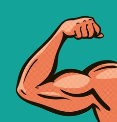 Strong arm, muscles, gym. Comics style design. Vector illustration