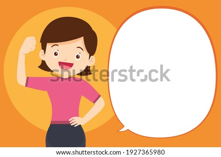strong arm woman Surrounded by Immunity Field Protecting Her and Speech Bubble. Good Health Concept. Foto d'archivio ©