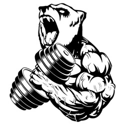 Strong bear the athlete performs the exercise for biceps with dumbbells