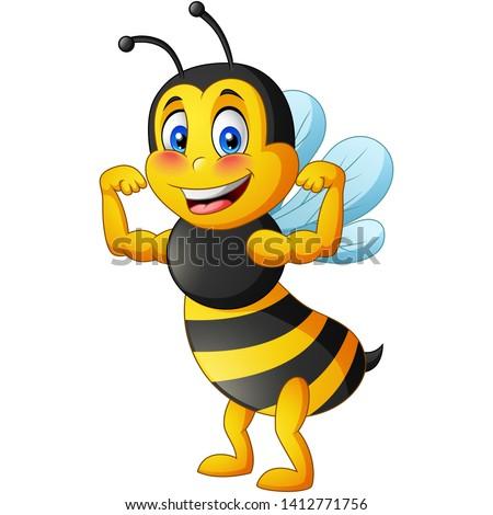 strong bee cartoon vector
