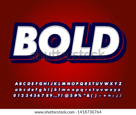 Strong bold font effect, modern typography design and alphabet