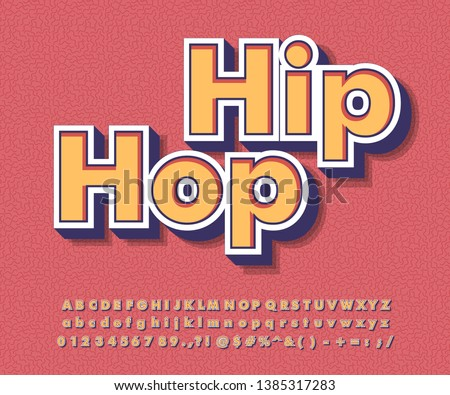 Strong bold retro font effect, hip hop sticker with groovy color style, music title for youth