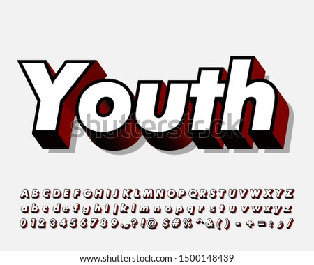 Strong bold, youth style alphabet set