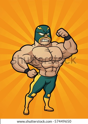 Strong cartoon Mexican wrestler. Vector illustration with simple gradients. Character and background are on separate layers for easy editing.