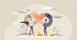 Strong community and connection between races and genders tiny person concept. Cooperation and strong union as partnership and solidarity symbol vector illustration. Infinity love, care and support.