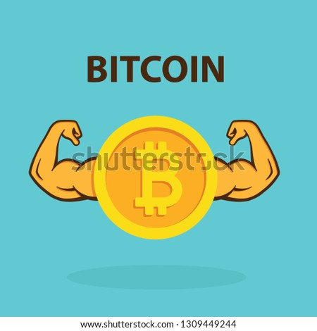 Strong crypto currency. Powerful bitcoin - vector.