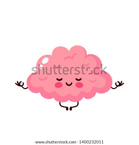 Strong cute healthy happy human brain organ mental meditate in lotus yoga pose. Vector flat cartoon illustration character icon design. Isolated on white background. Brain,mind relax character concept