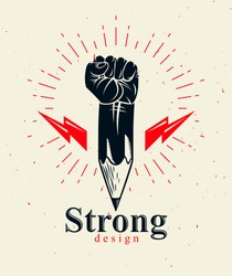 Strong design or art power concept shown as a pencil with clenched fist combined into symbol, vector logo or creative conceptual icon for designer or studio, science research.