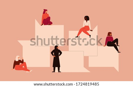 Strong girls different nationalities and cultures sit near the big speech bubbles. Women's friendship, union of feminists or sisterhood. The concept of the female's empowerment movement.