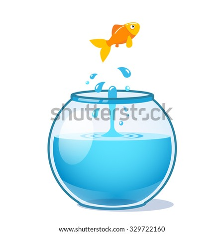 strong goldfish jumping out of