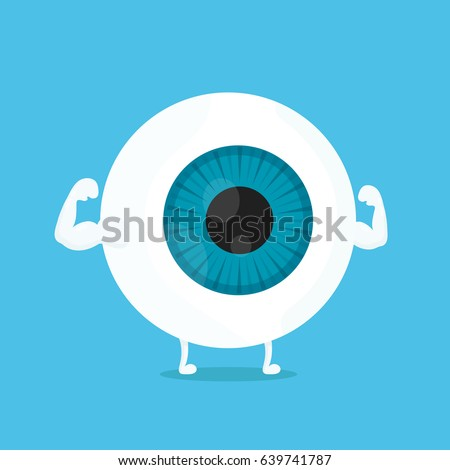 Strong healthy white eye, eyeball character. Vector flat cartoon illustration icon design. Isolated on blue background. Strong eye, good vision concept.