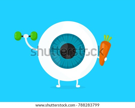 Strong healthy white eye, eyeball doing exercises with dumbbells and carrot character. Vector flat cartoon illustration icon design. Isolated on blue backgound. Eye care food,carrot,vision infographic
