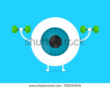 Strong healthy white eye, eyeball doing exercises with dumbbells character. Vector flat cartoon illustration icon design. Isolated on blue backgound