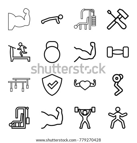 Strong icons. set of 16 editable outline strong icons such as treadmill, shield, muscle arm, man doing exercises, gym equipment, muscle, heart with muscles, screwdriver