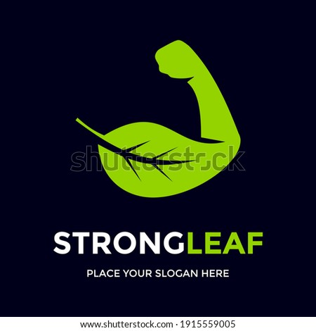 Strong leaf vector logo template. This design use Nature and hand symbol. Suitable for environment or health. ストックフォト ©