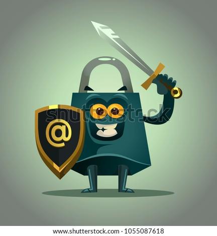 strong lock character mascot