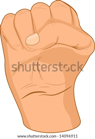 Strong male fist. Vector illustration.