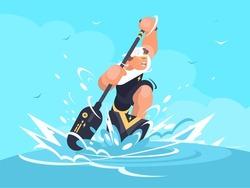 Strong man in canoe