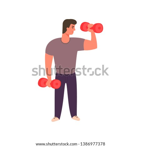 Strong man working out with dumbbells. Athletic guy doing exercise with dumbbell in gym. Vector character design