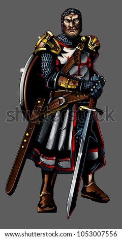 strong medieval knight crusader