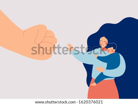 Strong mother protects her child from danger. Stop violence against children. A big fist threatens a woman and her baby. Vector illustration Stock fotó ©