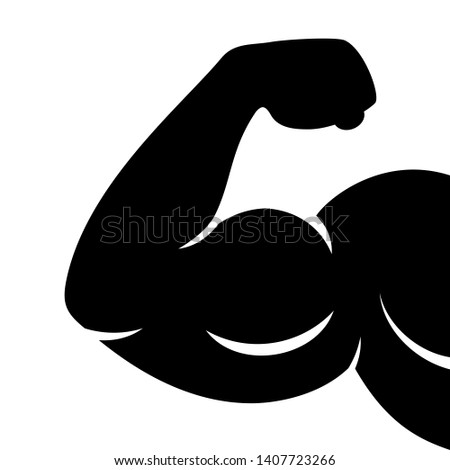 Strong muscular hand with large biceps isolated on white background