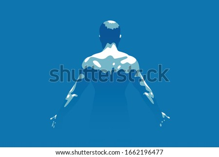 Strong muscular man back vector illustration, bodybuilder athlete sportsman, strength and health lifestyle. Сток-фото ©