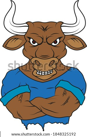strong sports bull in t shirt