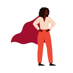 Strong superhero black woman wearing cape. Feminism concept, girl power. Inspirational and motivational female character. Vector illustration in flat cartoon style.