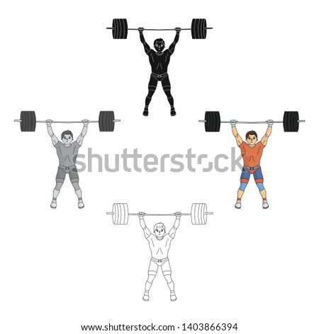 Strong weightlifter raises the bar in the gym.The athlete lifts a huge weight.Olympic sports single icon in cartoon,black style vector symbol stock illustration.