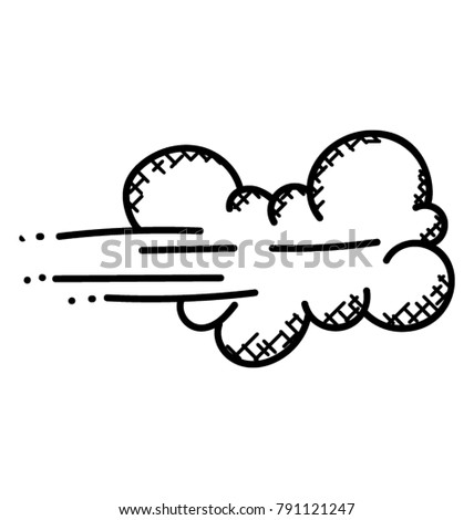 Strong winds blowing rain clouds, doodle vector