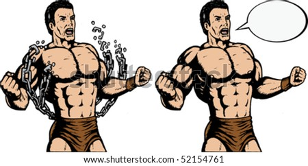 Strongman breaking chains. With vector, chains are on a separate layer, and can be moved. - stock vector