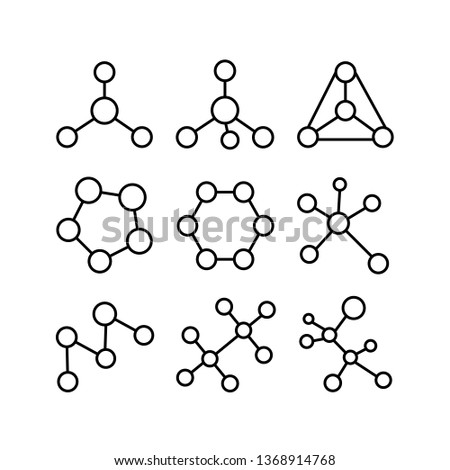 structural formulas of molecules icons set on white background