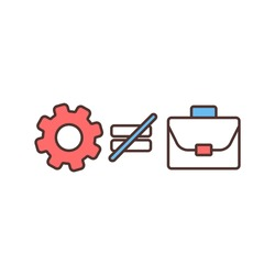 Structural unemployment RGB color icon. Skills mismatch. Involuntary unemployment. Mismatching between unemployed people qualifications and available jobs. Isolated vector illustration