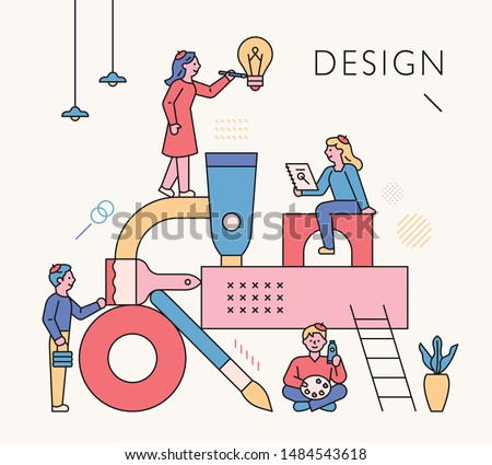 Structure made of art supplies. People designing around it. flat design style minimal vector illustration.