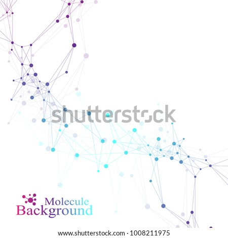 Structure molecule and communication. Dna, atom, neurons. Scientific molecule background for medicine, science technology chemistry. Vector illustration.