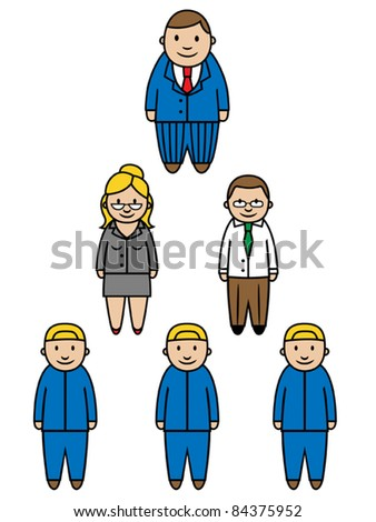 Structure of a business or a company, boss and employees, vector illustration
