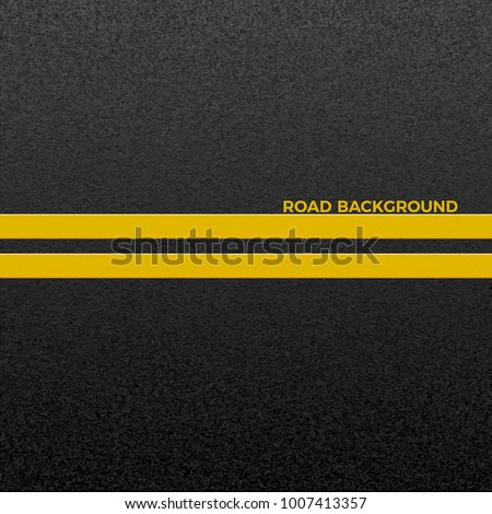 Structure of granular asphalt. Asphalt texture with two yellow line road marking. Abstract road background. Vector illustration