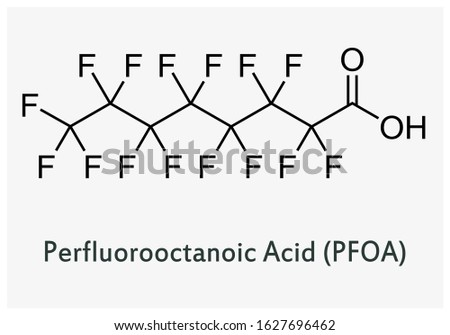 Structure of perfluorooctanoic acid. PFOA chemical structure depiction.