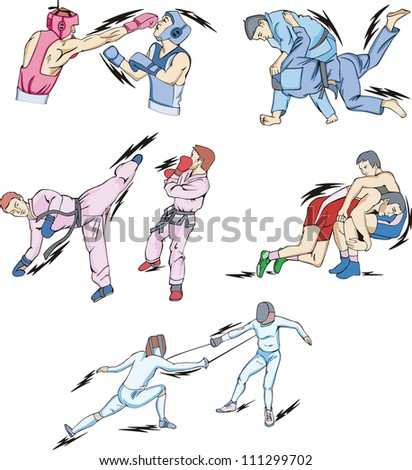 Struggle and Fighting Sports: Boxing, Judo, Taekwondo, Fencing, Freestyle and Greco-Roman Wrestling. Set of color vector illustrations.
