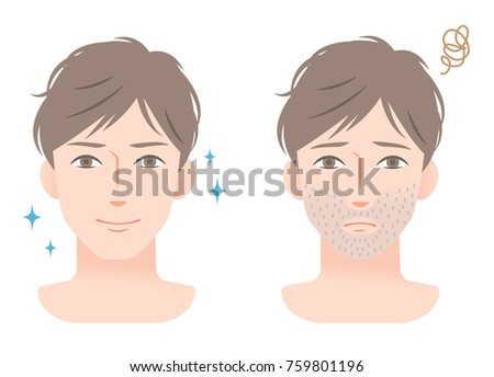 stubble beard young man before and after shaving Сток-фото ©