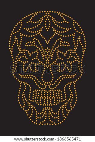 Stud design skull for tee, rive, metal detail for apparel Photo stock ©