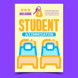Student Accommodation Creative Promo Poster Vector. Bed With Mattress And Pillow In College Room For Student And Door Key Advertising Banner. Concept Template Stylish Colorful Illustration