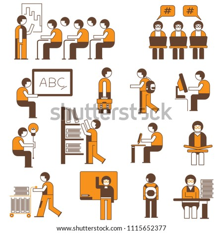 student and scholar people in lecture room character icons, orange theme