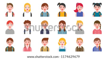 student avatar various hair style, in flat design, back to school theme